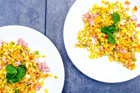 Healthy Ham Hock Summer Salad With Pearl Barley Cereals, Peppers and Piccalilli Dressing