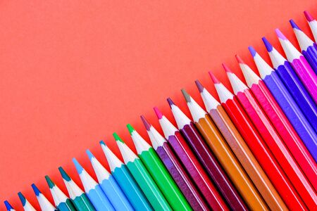 A Selection Of Colored Pencils For Back To School At The End of Holidays For a New Term Stock Photo
