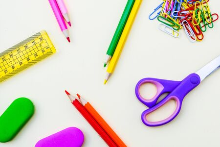 Back To School Coloured Pencils Rubbers Scissors and Paperclips