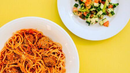 Italian Style Spaghetti with Meatballs in Tomato Sauce