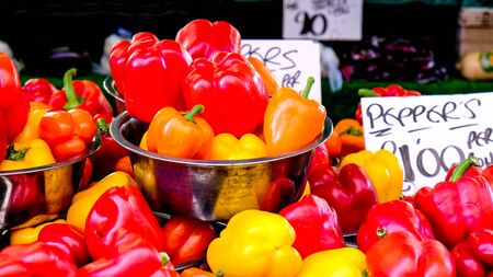 Market Trader Selling Fresh Yellow, Red and Orange Peppers In Steel Bowls,
