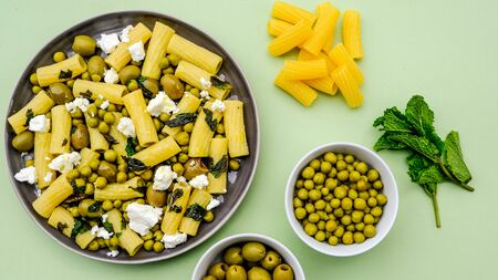Rigatoni Pasta Salad With Feta Cheese, Peas, Feta Cheese and Mint