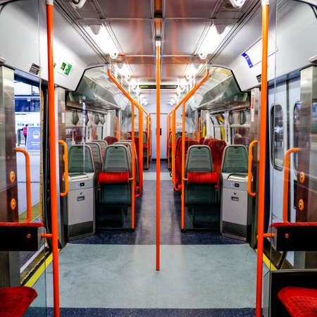Empty South Western Railway Train Carriage, Waterloo Station, London UK