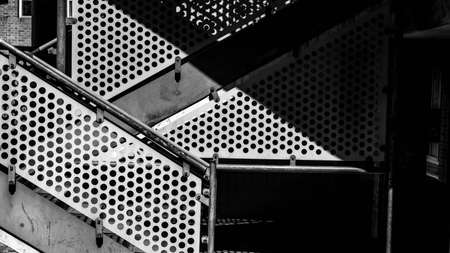 Kingston Upon Thames London UK, May 04 2021, Black and White Image Geometric Shapes and Pattenrs On A modern Staircase Architectural Design Feature