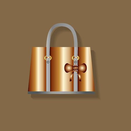 Golden bag on the brown background Stok Fotoğraf