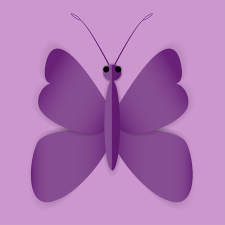 milkweed: Beautiful Butterfly on the purple shining background
