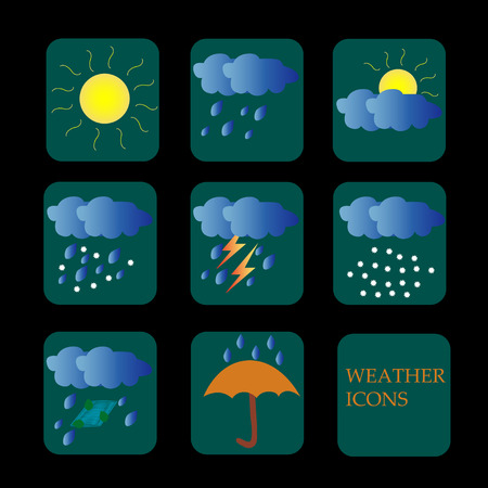 Set of different weather icons.Clouds, rain. snow and sun are in it. Illusztráció