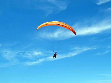 Paraglider airborne Stock Photo