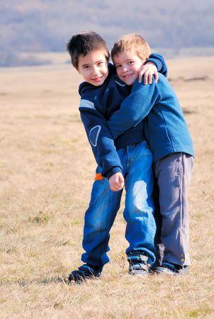 boys hugging