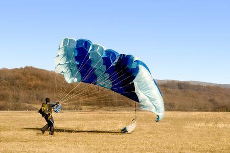 parachute landed Stock Photo