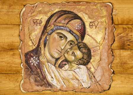 orthodox: an small icon painted on a wood