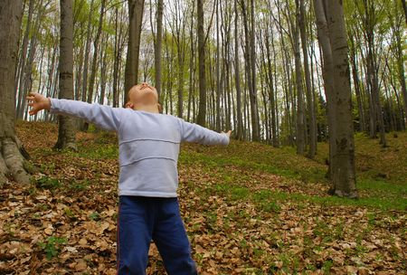 a boy is standing in the woods with arms spread, breathing the air Stock Photo