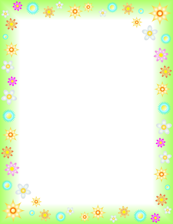 Spring floral background on Letter paper format Illustration