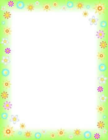 primavera: Spring floral background on Letter paper format Illustration