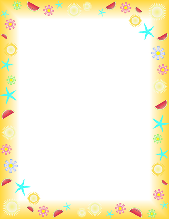 Summer frame on a Letter paper format Stock Vector - 3888565