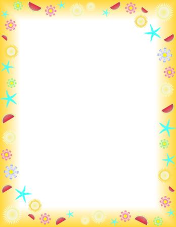 frutas divertidas: Verano marco de una Carta de el formato de papel