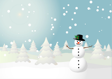 Vector illustration of a snowman on a snowy field