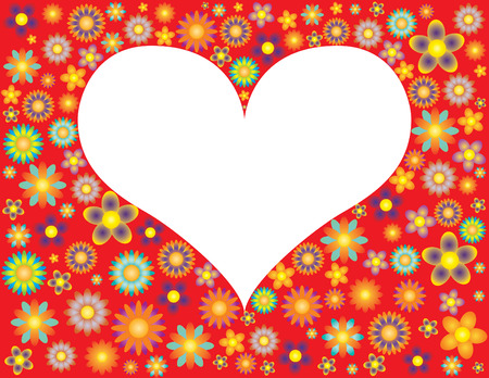 Heart shaped frame surrounded by flowers Vector