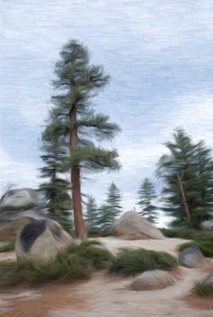 watercolor technique: painting of a landscape in watercolor technique made on a computer