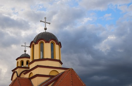 serbia xmas: Orthodox church with sky in background
