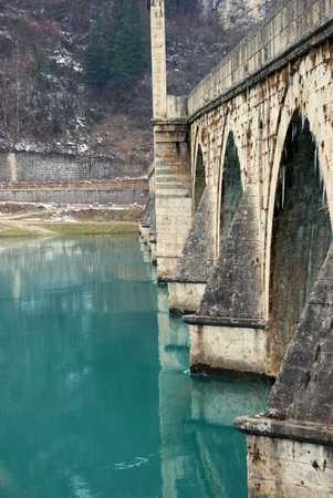 mehmed: The bridge on the Drina in Visegrad in Bosnia and Herzegovina on a winter day Stock Photo