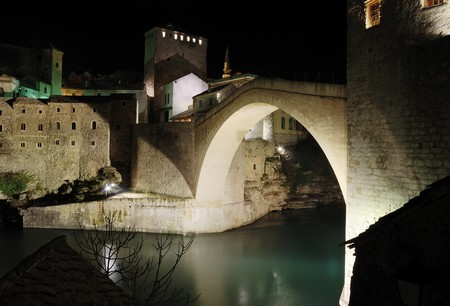 Famous Old Bridge in Mostar by night