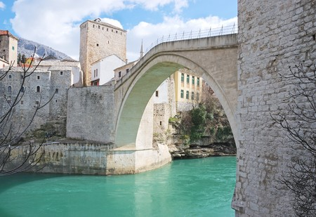 Famous Old Bridge in Mostar on a sunny winter day