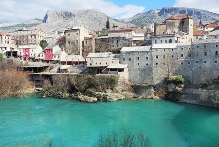 Famous touristic place Mostar on a sunny winter day Stock Photo - 4543810