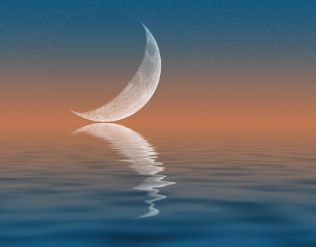 horizon reflection: Illustration of crescent Moon reflecting in water