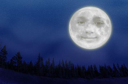 Een illustratie van een volle maan met een smiley gezicht over de bomen op een nachtelijke hemel bedekt met sterren.