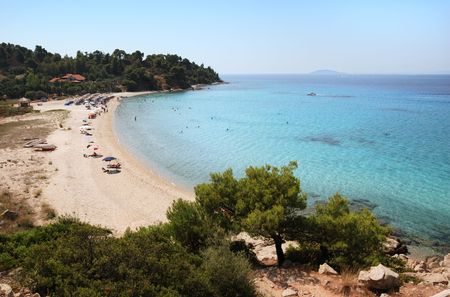 Koviou beach in Sithonia, Chalkidiki, one of the most beautiful beaches in Greece. Stock Photo