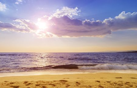Paradisos beach in Neos Marmaras, Sithonia, one of the most popular beaches in Chalkidiki. Stock Photo