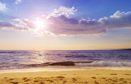 sithonia: PARADISOS spiaggia in Neos Marmaras, Sithonia, uno dei piu 'popolari spiagge in Calcidica. Archivio Fotografico