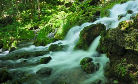 Water spring with cascade in the forest surrounded by rocks, trees and moss. Stock Photo
