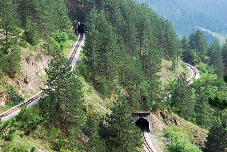 serbia: Railroad tunnels in tourist resort Mokra Gora in Serbia.