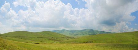 serbia: Panoramic image of mountain Zlatibor, famous tourist resort in Serbia. Stock Photo