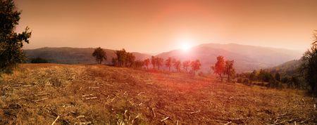 serbia: Panorama of sunset in Sumadija, central Serbia.