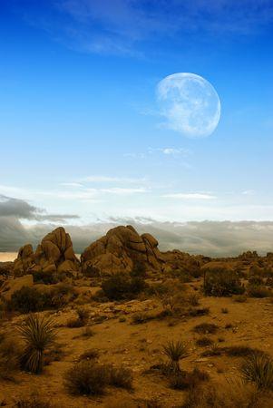 Moon rising over desert landscape in Joshua Tree national park.