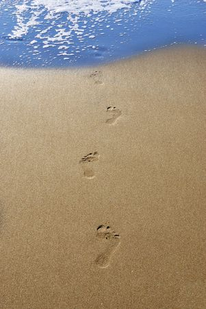 Footprints in send on a beach leading into water. photo