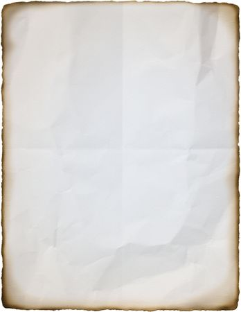 Con textura arrugada white paper en tamaño carta con bordes quemados.  Foto de archivo - 6866622