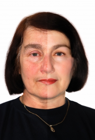 aging: Portrait of a woman showing extreme retouching.