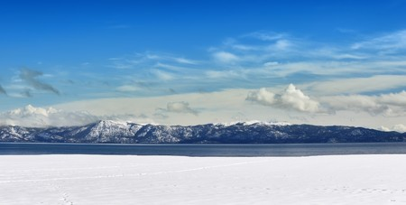 Winter panorama of Tahoe lake on a sunny day. Stock Photo - 7016699