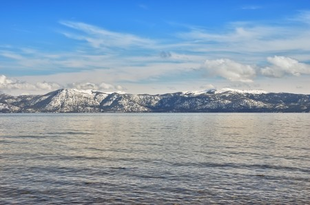 View on a lake Tahoe lit by afternoon sun in winter. Stock Photo - 7016704