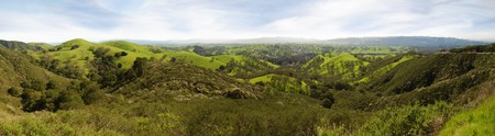 hillside: Panoramic view on a sunny day in winter from Mt Diablo state park in California, USA. Stock Photo