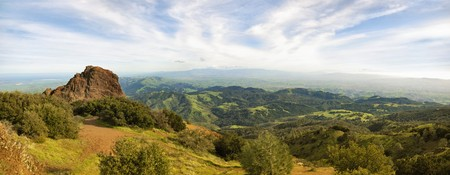mt: Panoramic view on a sunny day in winter from Mt Diablo state park in California, USA. Stock Photo