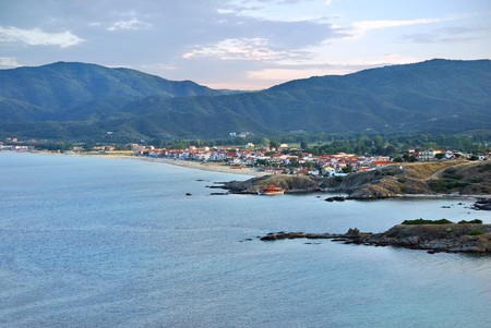 Twilight in Sarti, one of the most popular villages for summer vacation in Sithonia, Halkidiki, Greece. Stock Photo