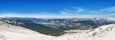 sierra nevada mountain range: View from Mammoth Mountain in California, in July, with dirty snow in foreground. Stock Photo