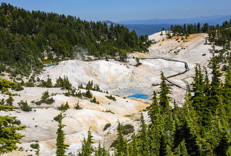 hydrothermal: Bumpass Hell is the largest hydrothermal area in Mount Lassen park. Its the main area of upflow of steam and discharge from the Lassen hydrothermal system. Mount Lassen is an active volcano in Northern California. Stock Photo