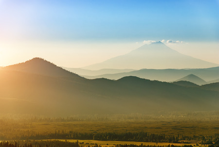 mount: Mount Shasta in California seen from Lassen Volcanic National Park on a late July afternoon.