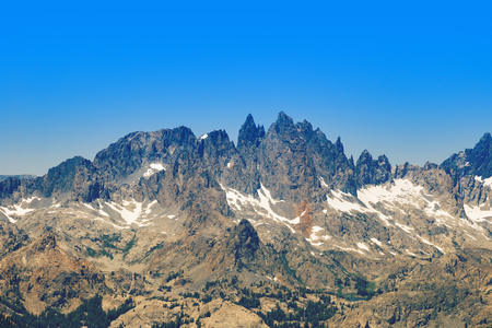 mammoth lakes: Famous Mammoth Mountain Minarets in Ritter Range seen from the Main Lodge. Stock Photo